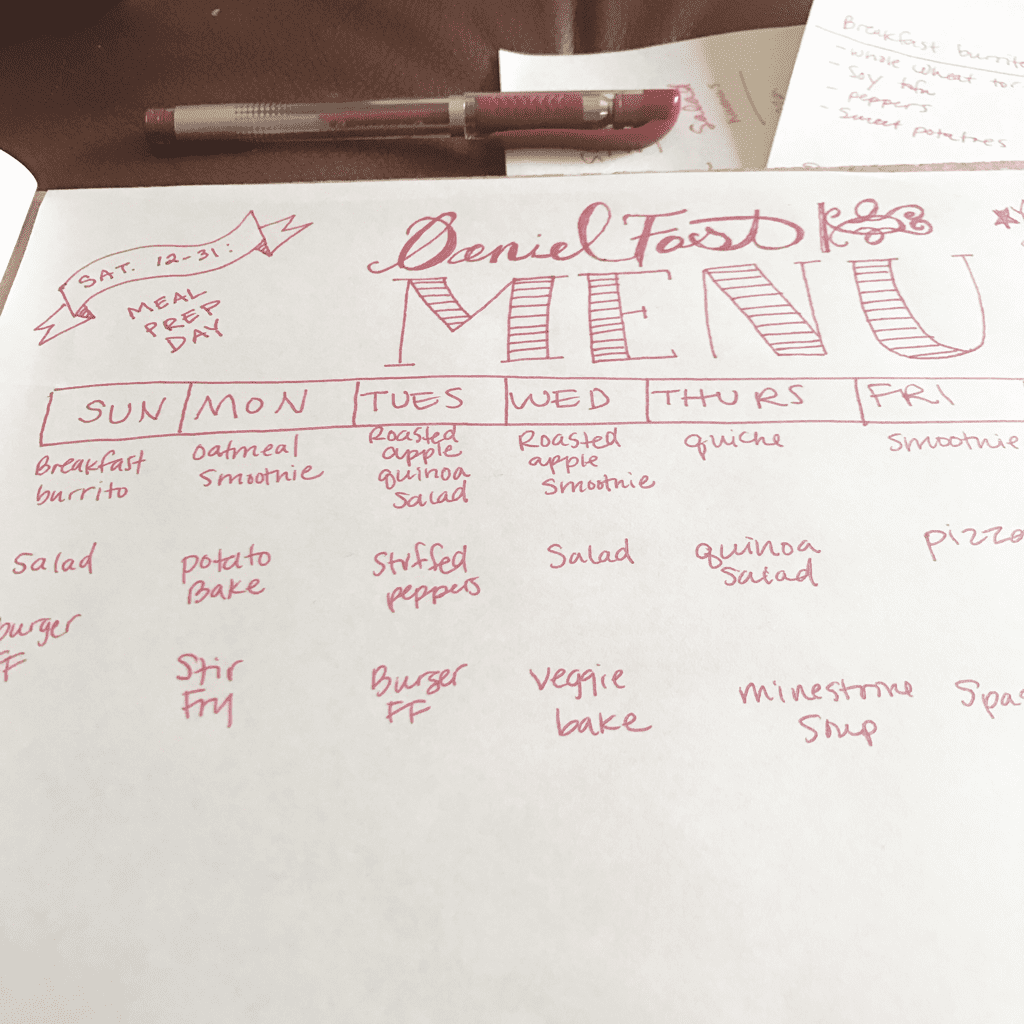 Daniel Fast meal plan menu created by ShoestringAmy